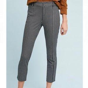 Anthropologie Essential Slim Grid Print Trouser